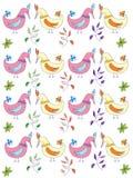 Tło z ptakami i gałąź, kwiaty Zdjęcie Stock