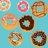 Tło z różnymi donuts ilustracji