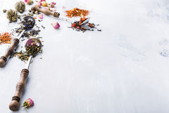 Tło z różnymi typ herbaciani liście Zdjęcia Royalty Free
