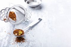 Tło z różnymi typ herbaciani liście Obrazy Royalty Free