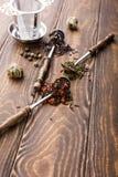 Tło z różnymi typ herbaciani liście Fotografia Royalty Free
