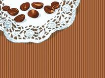 Tło z ręki rysować kawowymi fasolami royalty ilustracja