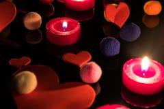 Tło z sercami, świeczkami i coloured piłkami, Miłość, colour obraz stock