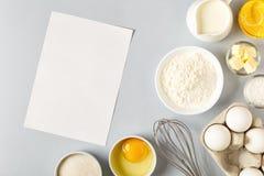 Tło z składnikami dla gotować, piec, mieszkanie nieatutowy zdjęcie royalty free