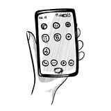 Tło z smartphone i ręką Zdjęcie Stock