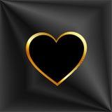 Tło z srebnymi prążkami i złotym sercem Zdjęcia Royalty Free