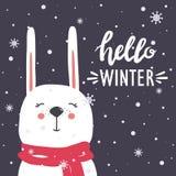 Tło z szczęśliwym królikiem, śniegiem i tekstem, royalty ilustracja