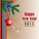 Tło z Szczęśliwym nowego roku tekstem, choinka balowym ornamentem, gałęziastym i Bożenarodzeniowym Fotografia Stock