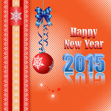 Tło z Szczęśliwym nowego roku tekstem i ornamentacyjną piłką Zdjęcia Royalty Free