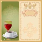 Tło z szkłem wino i filiżanka kawy royalty ilustracja