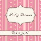Tło z sztandaru dziecka prysznic dziewczyny rocznikiem Obrazy Stock