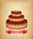Tło z urodzinowym czekoladowym tortem Obrazy Stock