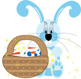 Tło z wiszącymi jajkami, królikami i krajobrazem, wektorowa ilustracja Obrazy Royalty Free
