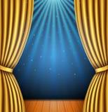 Tło z złocistą zasłoną i światłem reflektorów royalty ilustracja