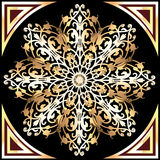 Tło z złocistymi płatkami śniegu i błyskotliwymi klejnotami Zdjęcie Royalty Free