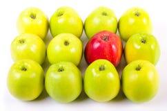Tło zieleni jabłka z jeden czerwonym jabłkiem Zdjęcia Royalty Free
