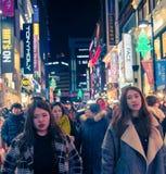 Tłoczy się ludzi w Seul kapitale Południowy Korea, jako miastowa scena przy Fotografia Stock