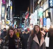 Tłoczy się ludzi w Seul kapitale Południowy Korea, jako miastowa scena przy Zdjęcie Royalty Free