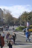 Tłoczy się na las ramblas. Barcelona. Hiszpania Fotografia Royalty Free