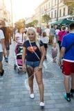 Tłoczy się turyści na ulicach Lublin Zdjęcie Stock
