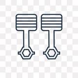 Tłoki krzyżują wektorową ikonę odizolowywającą na przejrzystym tle, li ilustracja wektor