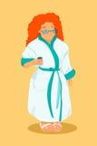 Tłuściuchna kobieta ma jej kawę również zwrócić corel ilustracji wektora Zdjęcia Stock