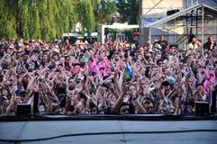 Tłum bawić się ludzi podczas koncerta Obrazy Royalty Free