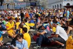 Tłum fan piłki nożnej od różnych krajów Obraz Royalty Free