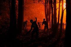 Tłum głodni żywi trupy w drewnach Obrazy Royalty Free