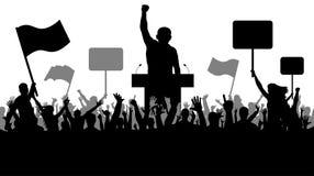 Tłum ludzie demonstruje sylwetkę Krasomówstwo sztuka, manifestacja, polityka, rewolucja, strajk, przejęcie demonstracje ilustracja wektor