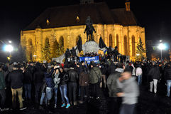 Tłum ludzie podczas ulica protesta Zdjęcie Royalty Free