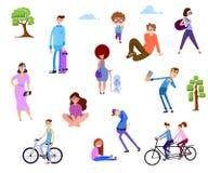 Tłum ludzie w parku, plenerowe aktywność ilustracji
