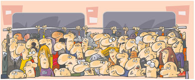 Tłum ludzie w transporcie publicznym. Zdjęcia Stock