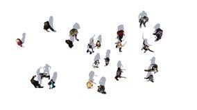 Tłum ludzie w widoku na białym tle Obraz Stock
