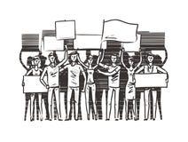 Tłum ludzie z plakatami na demonstracji Manifestacja, protesta nakreślenie również zwrócić corel ilustracji wektora royalty ilustracja