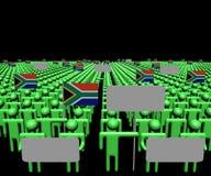 Tłum ludzie z znakami i południe - afrykanin zaznacza ilustrację Zdjęcia Stock
