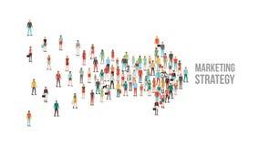 Tłum ludzie zbierający w strzałkowatym kształcie royalty ilustracja