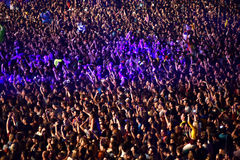 Tłum ma zabawę w stadium Zdjęcie Stock
