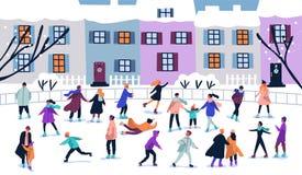 Tłum malutcy ludzie ubierał w zimy odzieżowej jazdie na łyżwach na lodowisku Mężczyźni, kobiety i dzieci w sezonowym outerwear na royalty ilustracja
