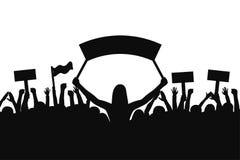 Tłum protestujących ludzie Sylwetki ludzie z sztandarami z podnosić up rękami i pojęcia tła pięści ludzi do sunny rewolucji ilustracji