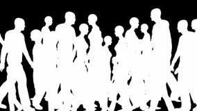 Tłum sylwetki chodzi, bezszwowa pętla ilustracja wektor