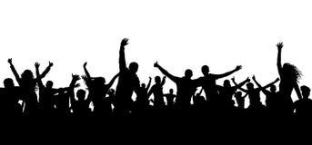 Tłum sylwetki rozochoceni ludzie Szczęśliwa grupa młodzi ludzie tanczy przy musicalu przyjęciem, koncert, dyskoteka Radosny motło royalty ilustracja