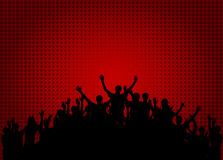 Tłum szczęśliwi, zadowoleni ludzie sylwetek, Wektorowy Illustratio Zdjęcie Royalty Free