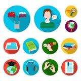 Tłumacza i językoznawcy płaskie ikony w ustalonej kolekci dla projekta Tłumacza symbolu zapasu sieci wektorowa ilustracja royalty ilustracja