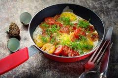 Tłumię smażył jajka z pomidorami w smaży niecce z czerwoną rękojeścią obrazy stock