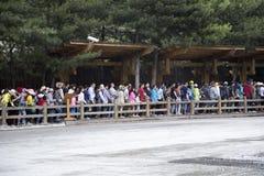 Tłumu wejście w Jiuzhaigou Zdjęcia Royalty Free