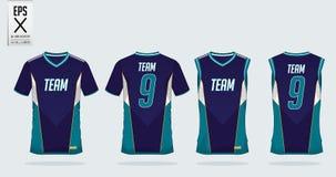T恤杉体育足球球衣、橄榄球成套工具和无袖衫的设计模板篮球球衣的 在前面和后面看法的制服 皇族释放例证