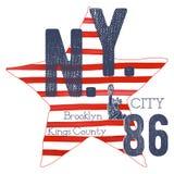 T恤杉印刷术设计, NYC打印图表、印刷传染媒介例证、纽约图形设计标签的或T恤杉PR 库存例证