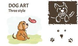 T恤杉的狗艺术 拉长的样式 向量例证