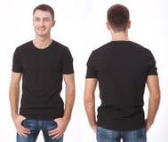 T恤杉设计和人概念-接近空白的白色T恤杉的年轻人 干净的衬衣嘲笑为设计集合 库存照片